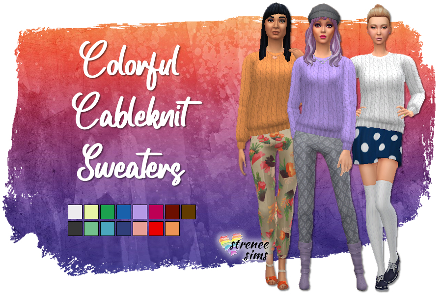 Colorful Cable Knits | Chunky cable knit sweaters for your Sims 4 #sims4 #sims4cc #sims4sweaters | www.streneesims.com