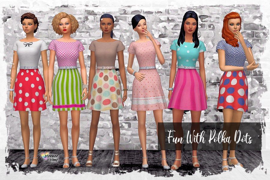 un With Polka Dots Dress | These lovely dresses are perfect for spring & summer. #Sims4 #ts4 | www.streneesims.com
