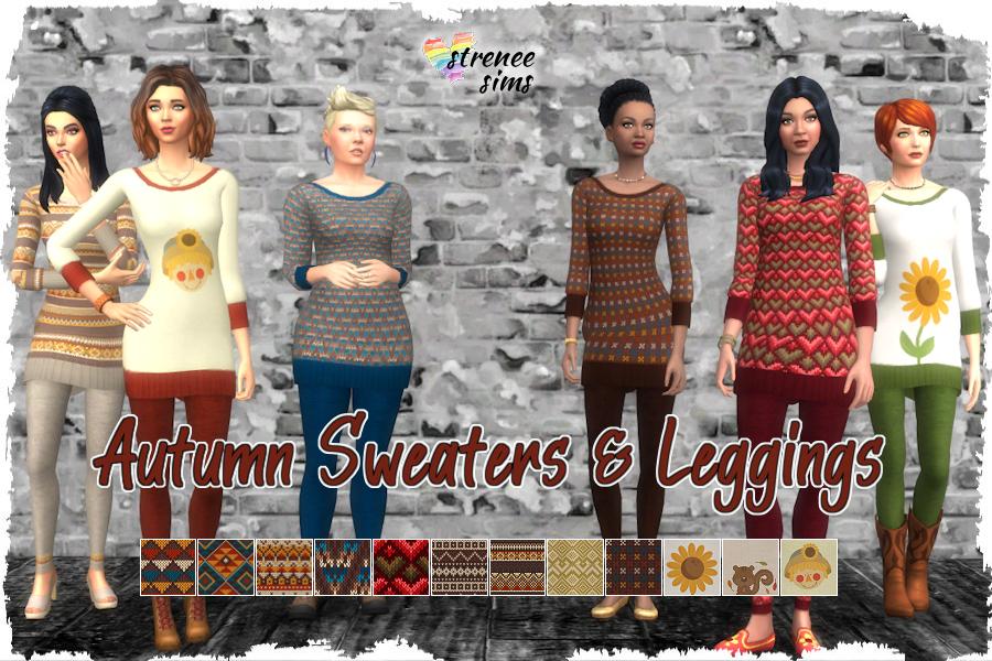 Autumn Sweaters & Leggings [BG] | Autumn themed long sweaters and matching leggings. #sims4 #sims4cc #simsclothes #sims4autumn | www.streneesims.com