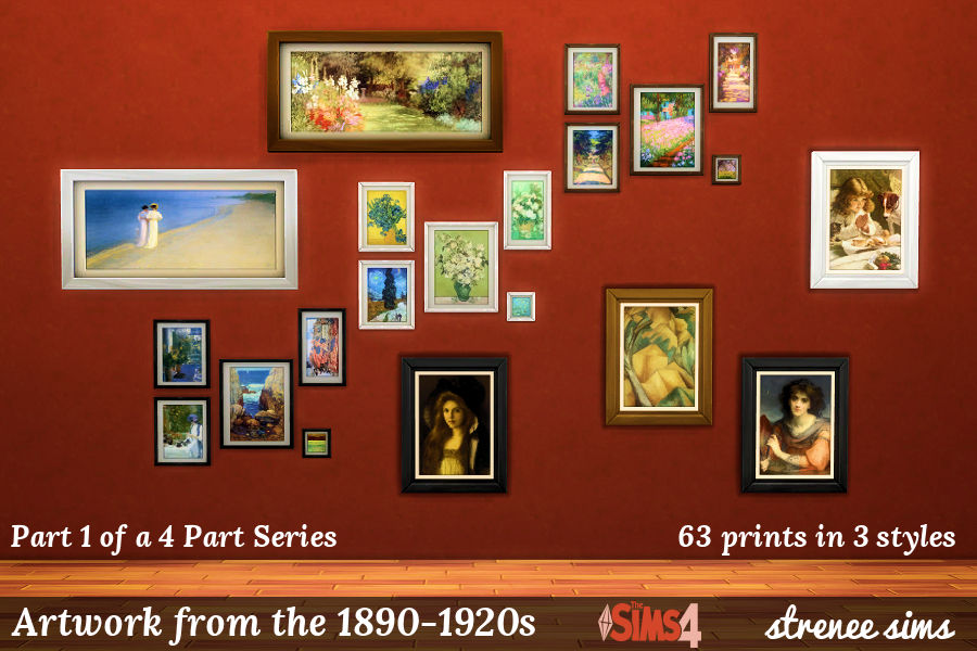 Artwork from the 1890-1910s | 63 prints in different styles to decorate with on the #Sims4 | #Sims4cc #Sims4art #ts4