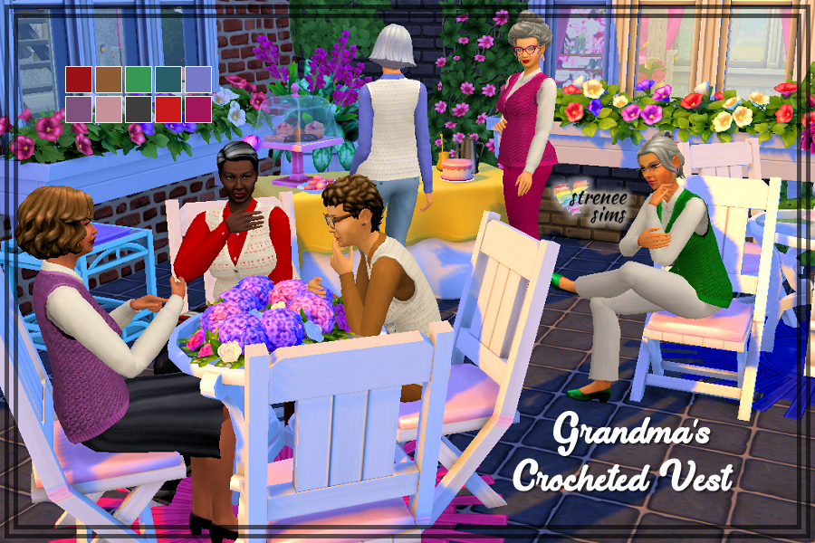 Grandma's Crocheted Vest | A crocheted vest for Grandma - perfect for afternoon teas and garden parties! Comes in two styles with 18 swatches | #Sims #Sims4 #TS4 | strenee.huddlenet.com