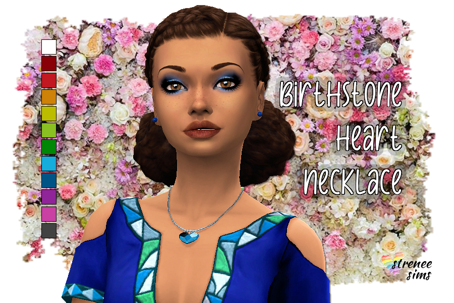 Birthstone Heart Necklace | A heart necklace in with all the birthstones. #ts4 #sims4 | www.streneesims.com