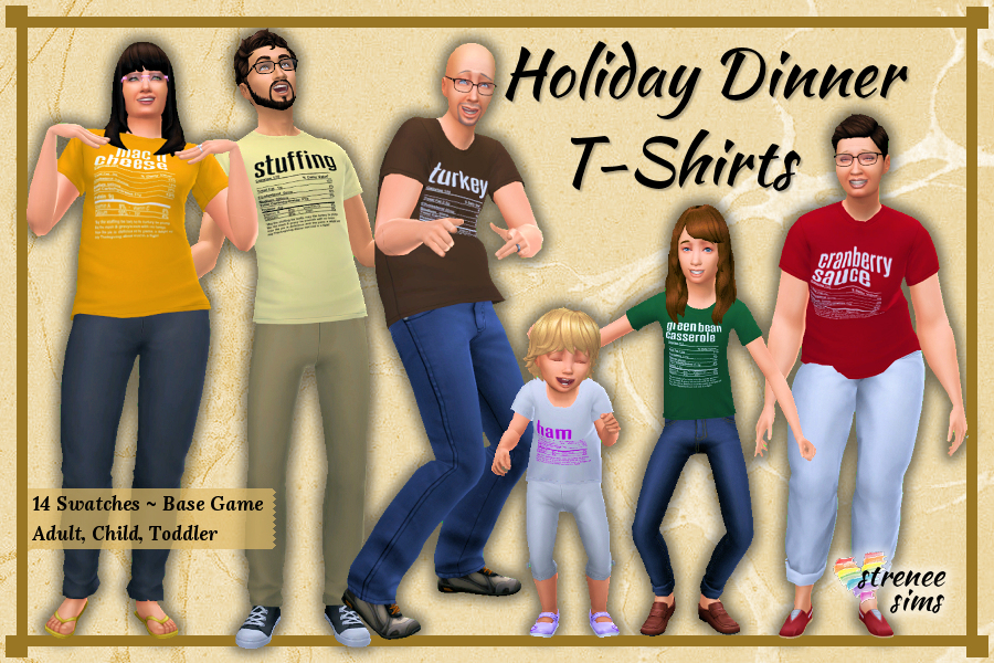 Holiday Dinner T-Shirts for the Family | Silly t-shirts for the whole Sim family #ts4 #ts4cc | www.streneesims.com