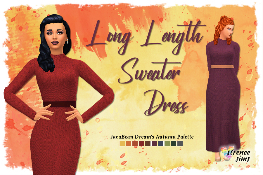 Long Length Sweater Dress | A base game sweater dress for the Sims 4 | www.streneesims.com