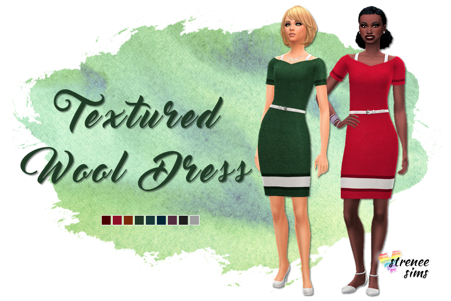 Textured Wool Dress | A wool dress perfect for work or church #Sims4 #ts4 #CityLiving | www.streneesims.com