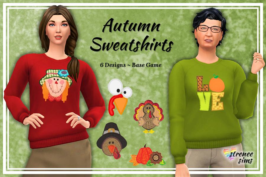 Autumn Sweatshirts | 6 autumn themed sweatshirts for your Sim ladies #sims4 #ts4 #ts4cc | www.streneesims.com