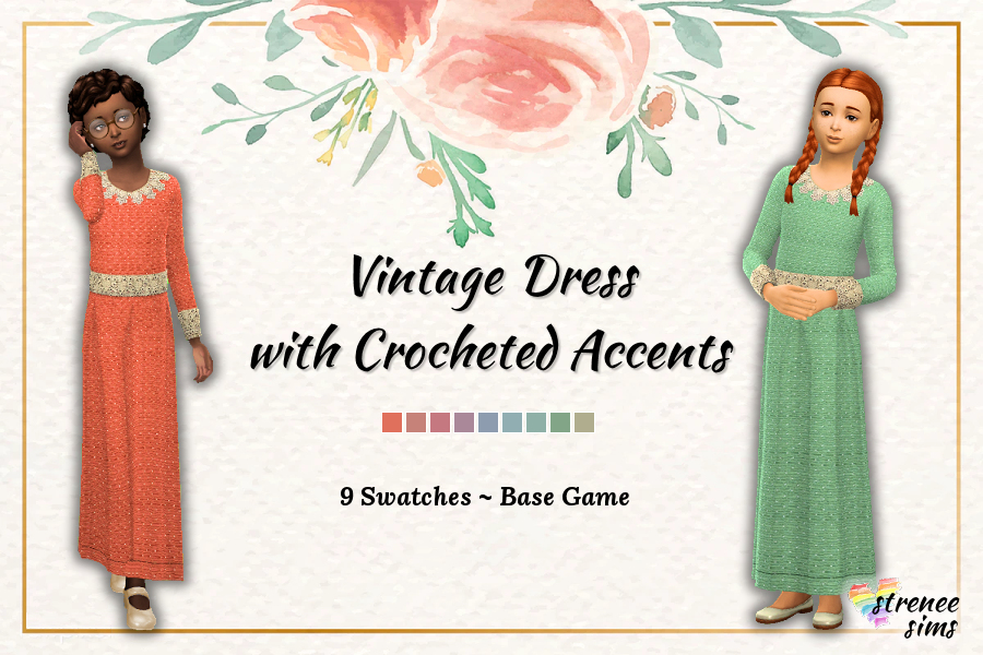 Vintage Girls Dress with Crocheted Accents | A mid-century inspired dress for the History or Decades Challenge #ts4 #thesims4 | www.streneesims.com