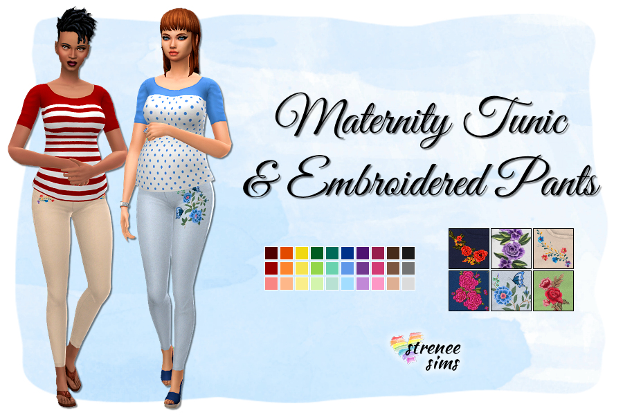 Maternity Tunics and Embroidered Pants | New tunics and embroidered pants for your pregnant lady Sims #sims4 #ts4 | www.streneesims.com