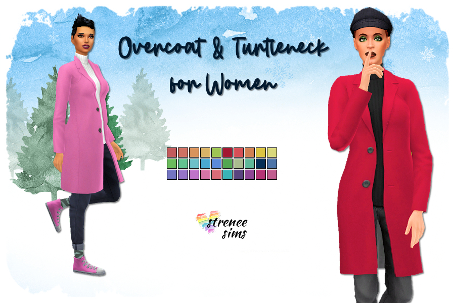 Overcoat and Turtleneck for the Ladies | A version in lady friendly colors! #ts4 #sims4 #seasons | www.streneesims.com