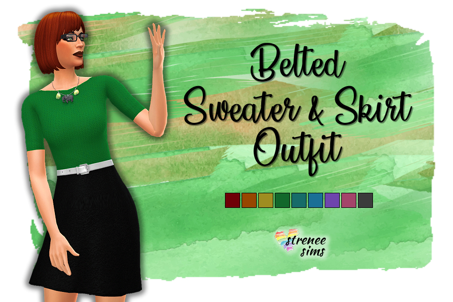 Sweater Belted Skirt Outfit | A casual outfit with a soft sweater. #ts4 #sims4 | www.streneesims.com