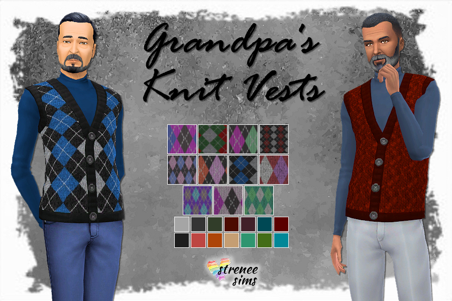 Cats and Dogs Knit Vest | Update those crazy Cats & Dogs sweater vests with Grandpa's favorite vest. #ts4 #sims4 | www.streneesims.com