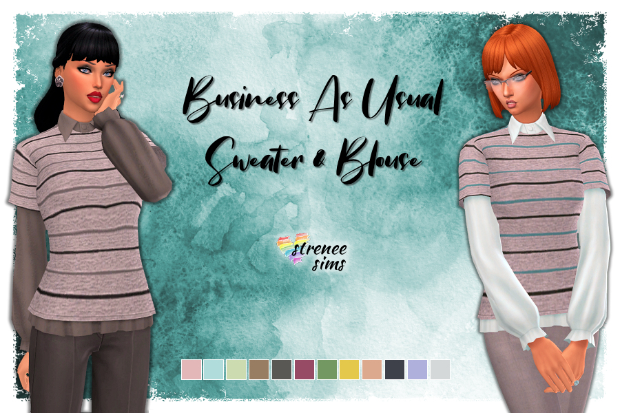 Business as Usual Sweater & Blouse | This top uses one from Eco Living. #sims4 #sims4cc | www.streneesims.com