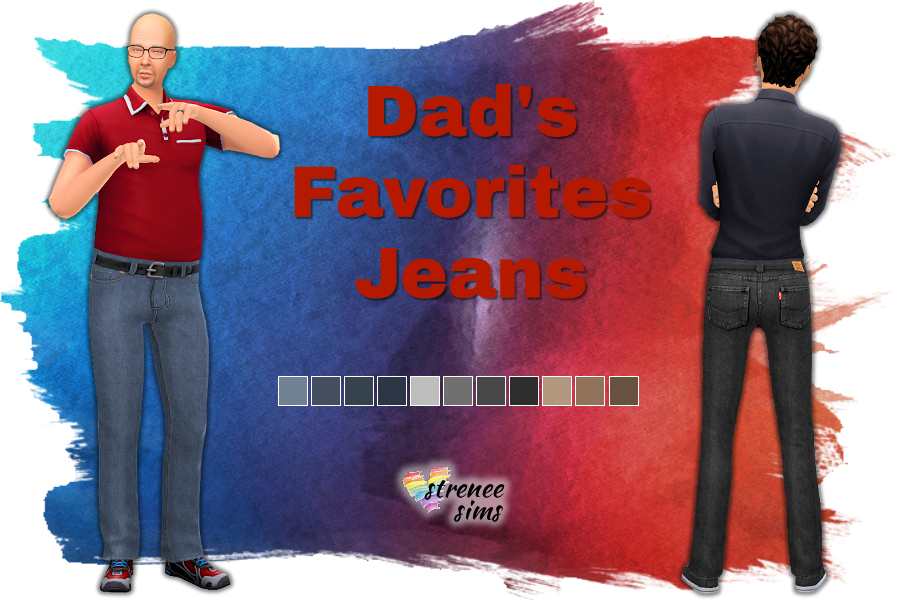 Dad's Favorite Jeans | Jeans for your Sims that may or may not look like Levi's! #sims4 #ts4 | www.streneesims.com