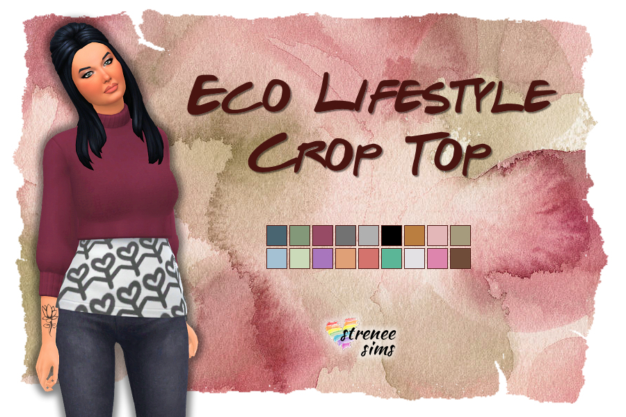 Stitched Up! Eco Living Crop Sweater | A stitched up version of this crop sweater. #ts4 #sims4 | www.streneesims.com