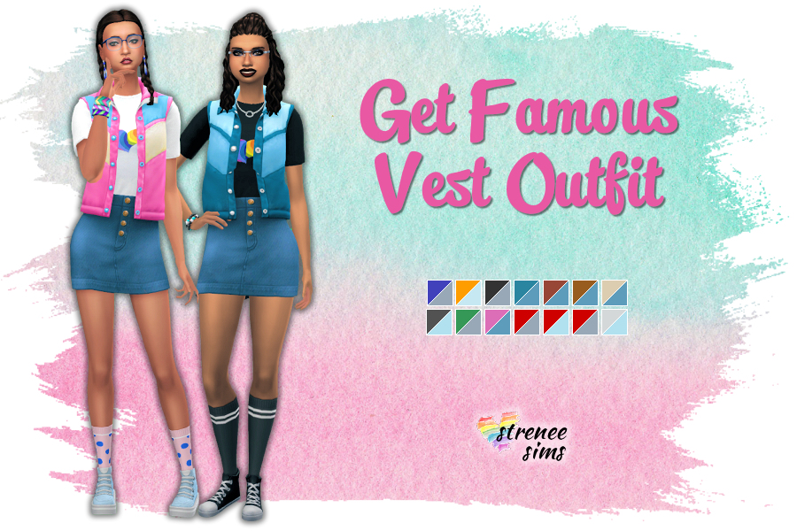 Stitched Up! Get Famous Vest & Skirt Outfit | No holes in this version of the outfit! #ts4 #sims4 | www.streneesims.com