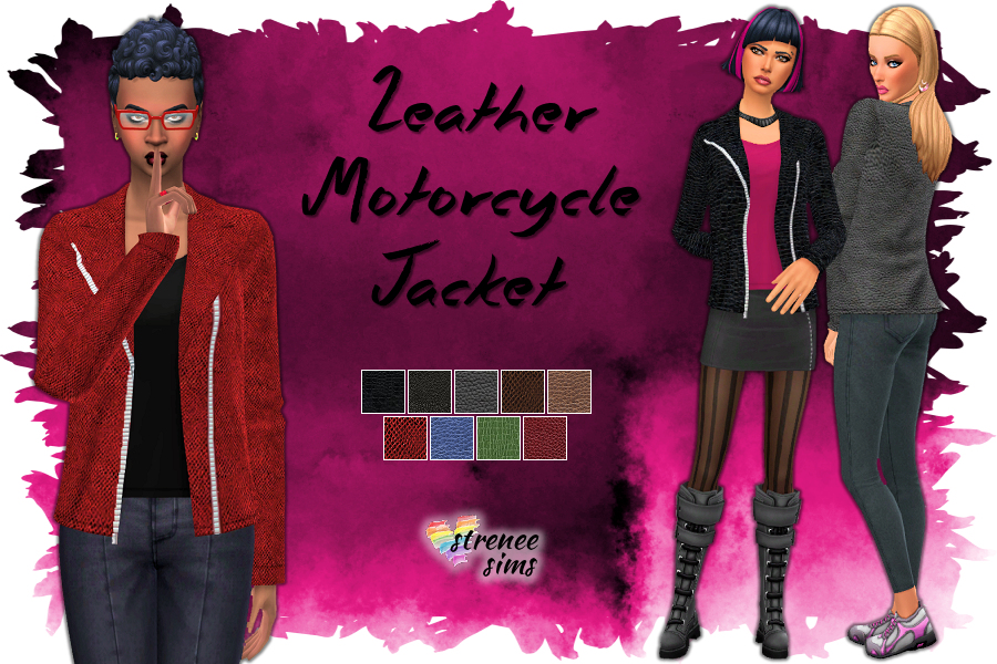 Leather Motorcycle Jacket | A variety of different textured leather jackets for your Sims to look cool in. #sims4 #ts4cc | www.streneesims.com