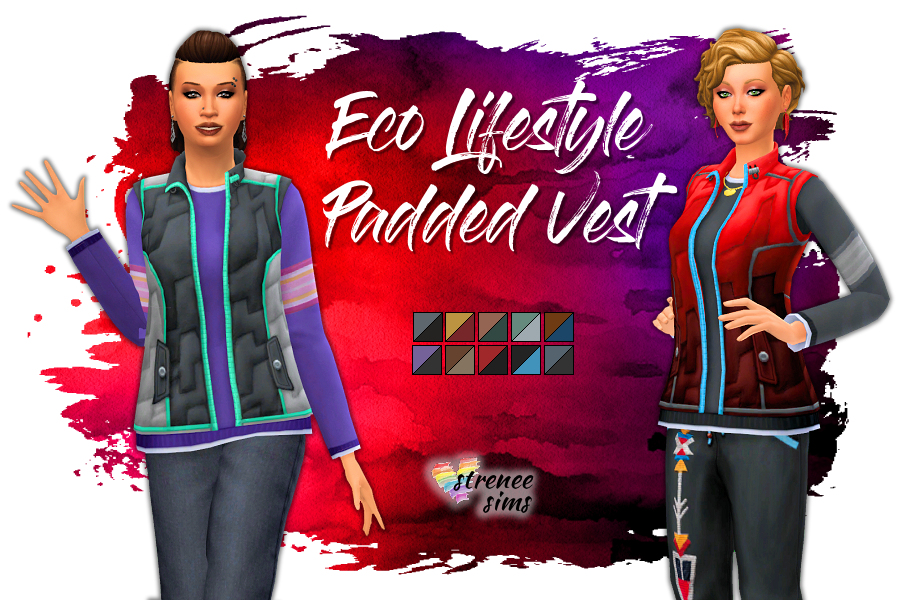 Stitched Up! Eco Lifestyle Padded Vest | A version of this top without the holes. #ts4 #ts4cc #sims4 | www.streneesims.com