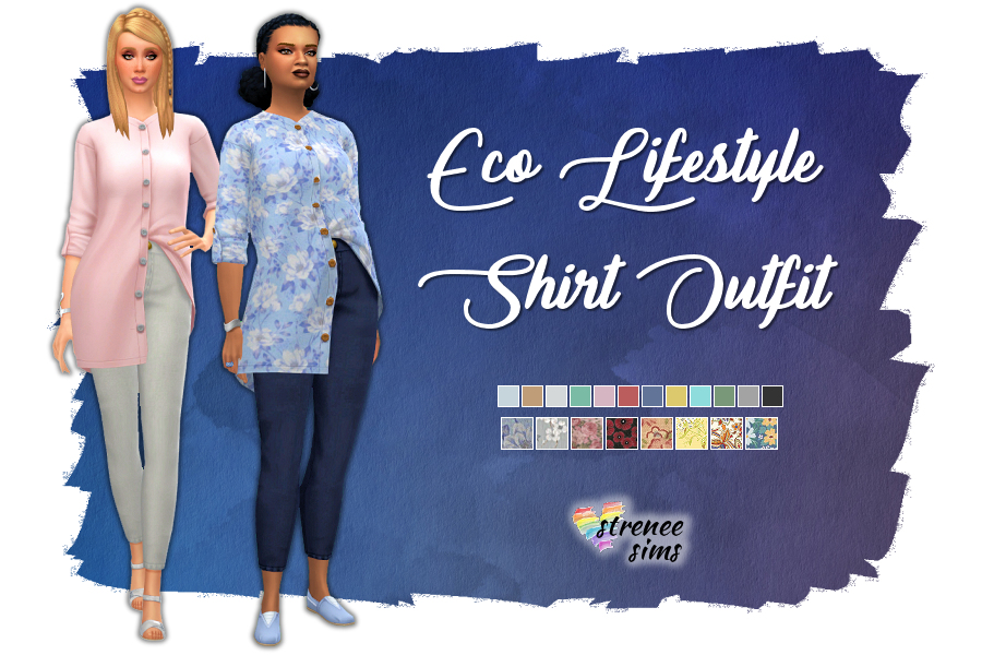 Stitched Up! Eco Lifestyle Shirt Outfit | A version of this outfit without patches. Includes new patterns. #ts4 #ts4cc #sims4 | www.streneesims.com