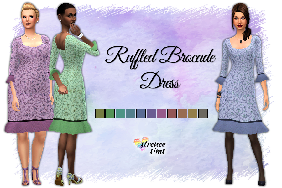 Ruffled Brocade Dress | A new brocade dress to wear to your next wedding. #ts4 #sims4 #sims4cc | www.streneesims.com