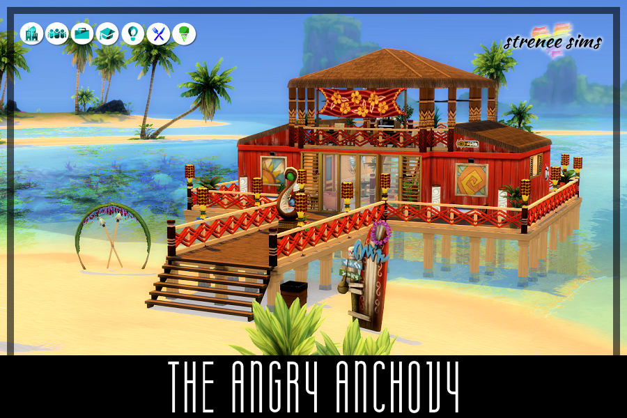 The Angry Anchovy Restaurant   The Angry Anchovy is a laid back restaurant providing a worry-free environment of Ohana. #ts4 #sims4   www.streneesims.com