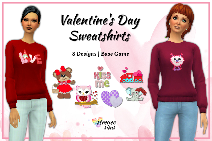 Valentines Day Sweatshirt | 8 Valentine's Day themed sweatshirts for your lovely Sims #ts4 #sims4 | www.streneesims.com