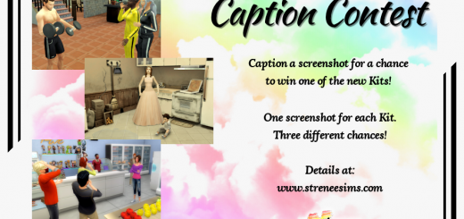 Caption Contest 03-2021 | Win one of the new Sims 4 Kits. Contest ends 4.1.2021 | www.streneesims.com