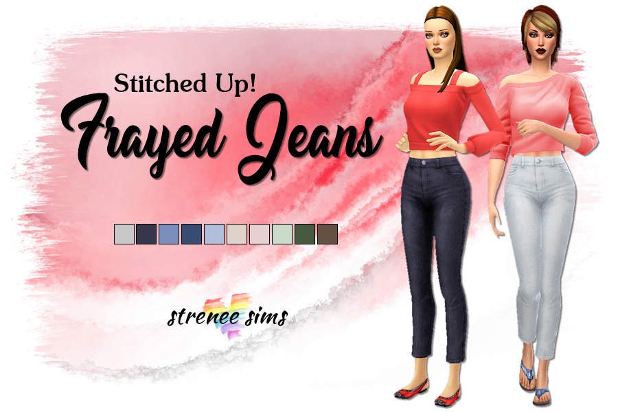 Stitched Up! Frayed Jeans   Crop jeans without the holes and frays #sims4 #ts4   www.streneesims.com