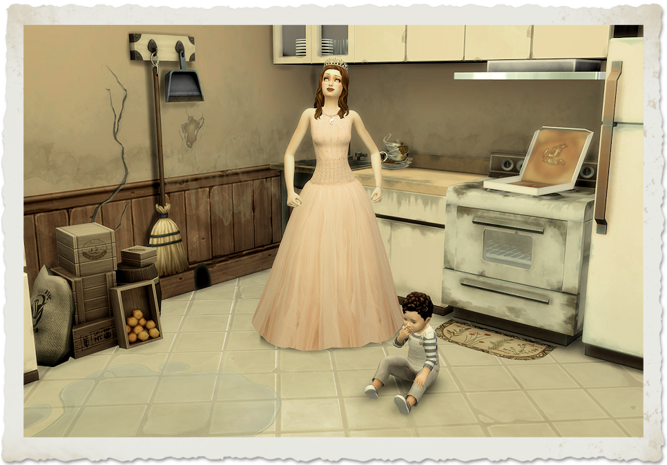 Caption Contest: The Kitchen | Winning caption: Being Cinderella turned into a bad deal. The prince only wanted me until midnight then up and left with the glass slippers. | www.streneesims.com