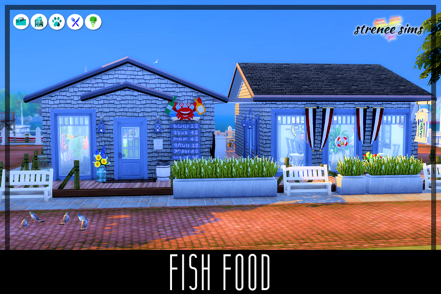 Fish Food has been around since the early 1950's. A busy and popular seafood place, the owners have had to add onto it multiple times. #ts4 #sims4 | www.streneeisims.com