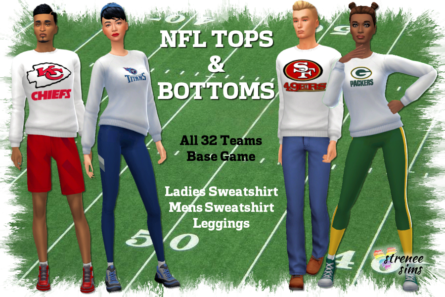 NFL Tops and Bottoms | NFL themed sweatshirts and leggings for adults #ts4 #sims4 | www.streneesims.com