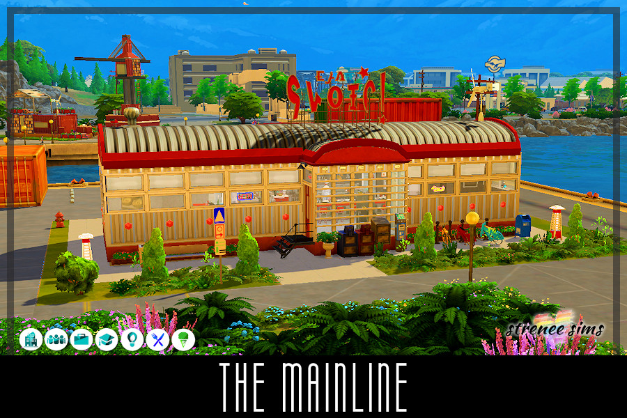 Sims 4 Railcar: The Mainline | Since 2003 there's no place finer...than The Mainline Diner! #ts4 #sims4 #sims4diner | www.streneesims.com