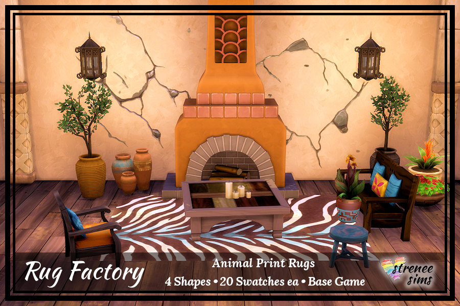 The Rug Factory Animal Print Rugs Set 1 | Take a walk on the wild side with an animal print rugs #ts4 #sims4 | www.streneesims.com
