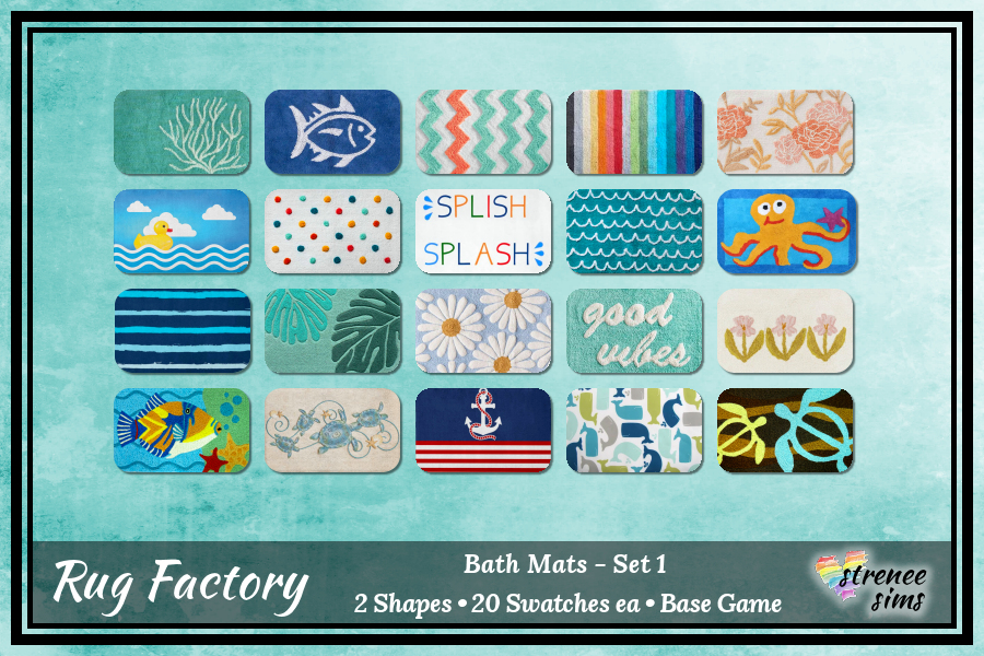 Sims 4 Decor: The Rug Factory Bath Mats Set 1 | Twenty colorful bath mats in two sizes for your Sim's tootsies! #sims4 #ts4 | www.streneesims.com