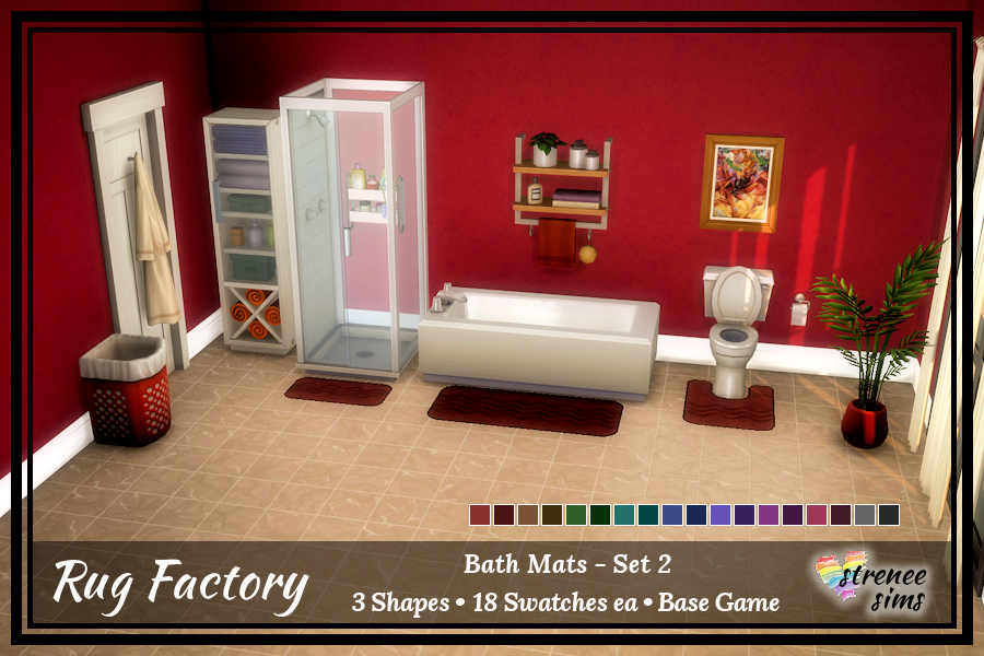 The Rug Factory: Sims 4 Bath Sets   A complete set of bath mats for your Sim's bathroom in 20 colors. #ts4 #sims4   www.streneesims.com