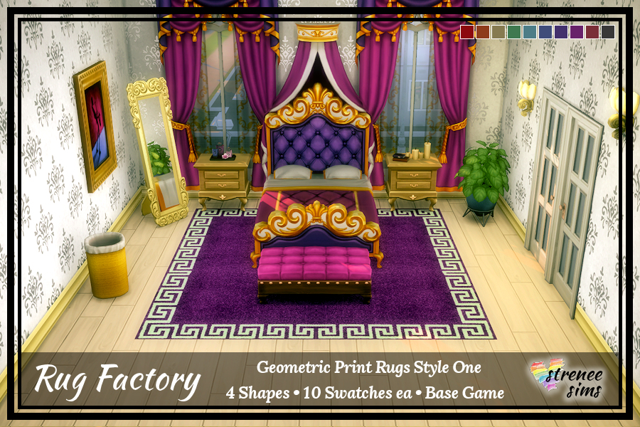 The Rug Factory Geometric Rugs Set 1 |  Add an artistic flair to your Sim's floor with a bold geometric rug.  #ts4 #sims4 | www.streneesims.com