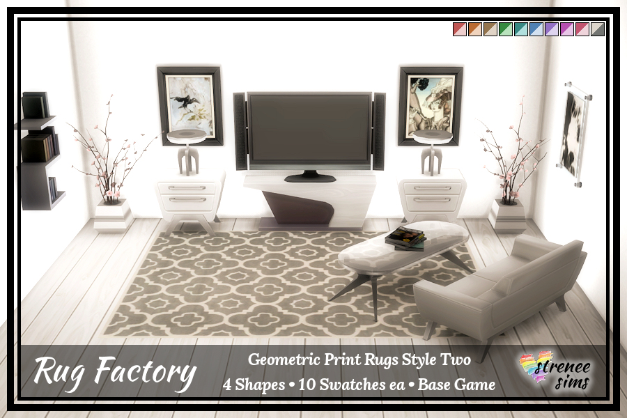 The Rug Factory Geometric Rugs Set 2 |  Add an artistic flair to your Sim's floor with a bold geometric rug.  #ts4 #sims4 | www.streneesims.com