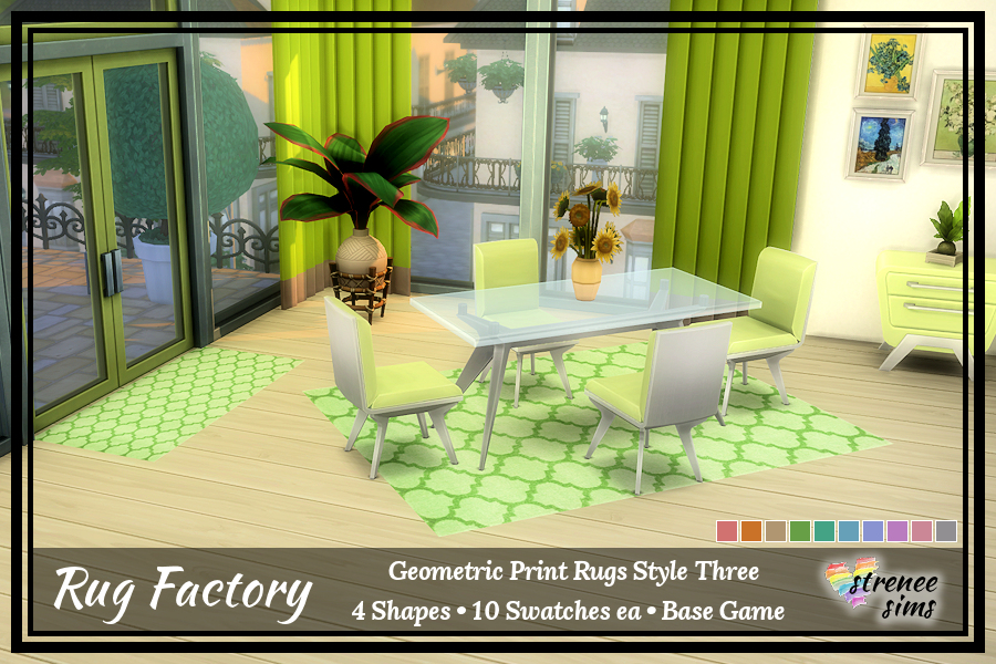 The Rug Factory Geometric Rugs Set 3 |  Add an artistic flair to your Sim's floor with a bold geometric rug.  #ts4 #sims4 | www.streneesims.com