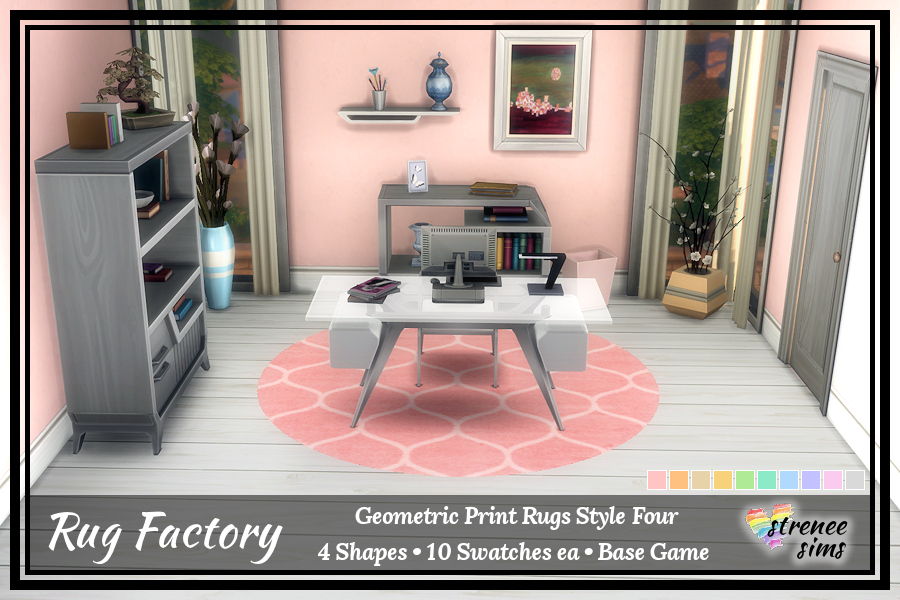 The Rug Factory Geometric Rugs Set 4 |  Add an artistic flair to your Sim's floor with a bold geometric rug.  #ts4 #sims4 | www.streneesims.com
