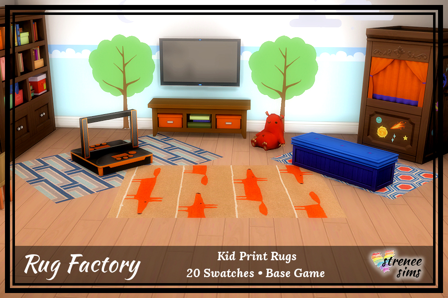 The Rug Factory Kid Print Rugs Set 1 | These rugs are perfect for tweens and teens alike #ts4 #sims4 | www.streneesims.com