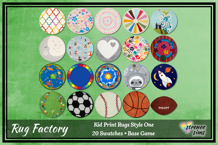 The Rug Factory Kid Print Round Rugs | Round rugs to decorate your Sim kid's rooms! #sims4 #ts4 | www.streneesims.com