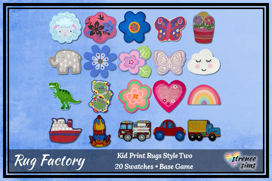 The Rug Factory Kid Print Shaped Rugs | Shaped rugs to decorate your Sim kid's rooms! #sims4 #ts4 | www.streneesims.com