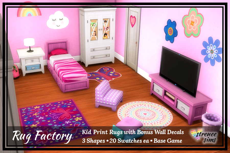 The Rug Factory Kid Print Rugs Set 2 | Three types of rugs to decorate your Sim kid's rooms! #sims4 #ts4 | www.streneesims.com