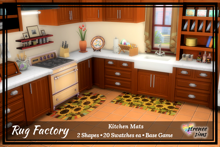 The Rug Factory: Kitchen Mats Set 1 | Cute practical mats for your Sim's kitchen #ts4 #sims4 | www.streneesims.com