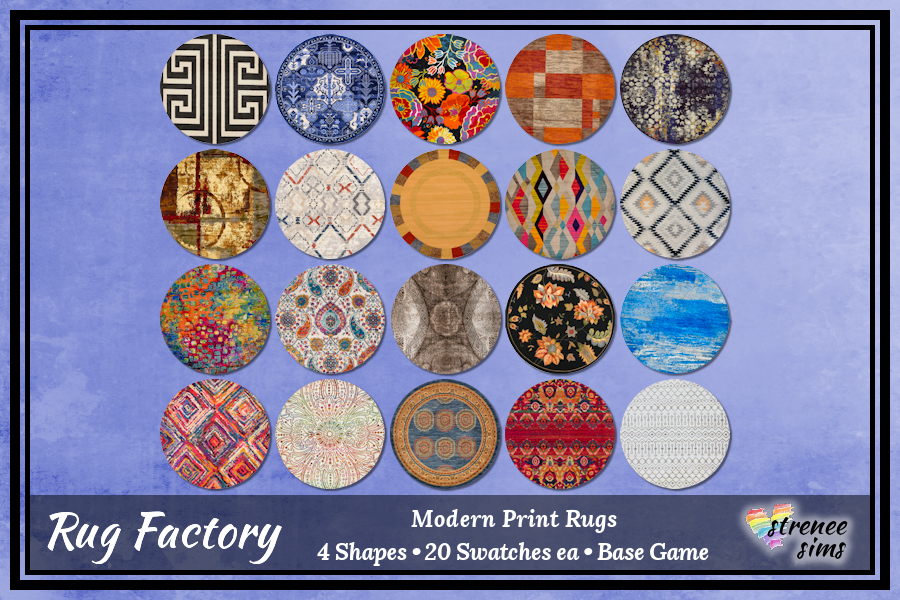 The Rug Factory: Modern Print Rugs Set 1 | Rugs with a contemporary look and feel for your Sims #ts4 #sims4 | www.streneesims.com