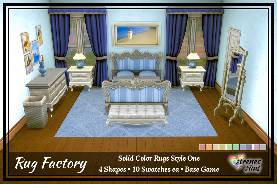 Sims 4 Solid Rugs: Set 2 | Decorative solid colored rugs for your Sims #ts4 #sims4 | www.streneesims.com