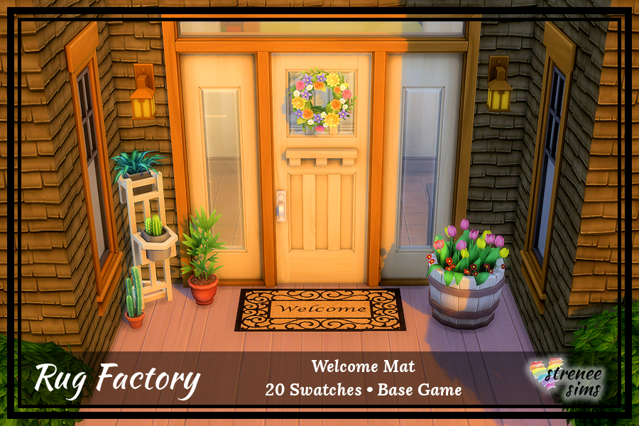 The Rug Factory: Welcome Mats | 20 welcome mats to brighten up your Sims front door #ts4 #sims4 | streneesims.com