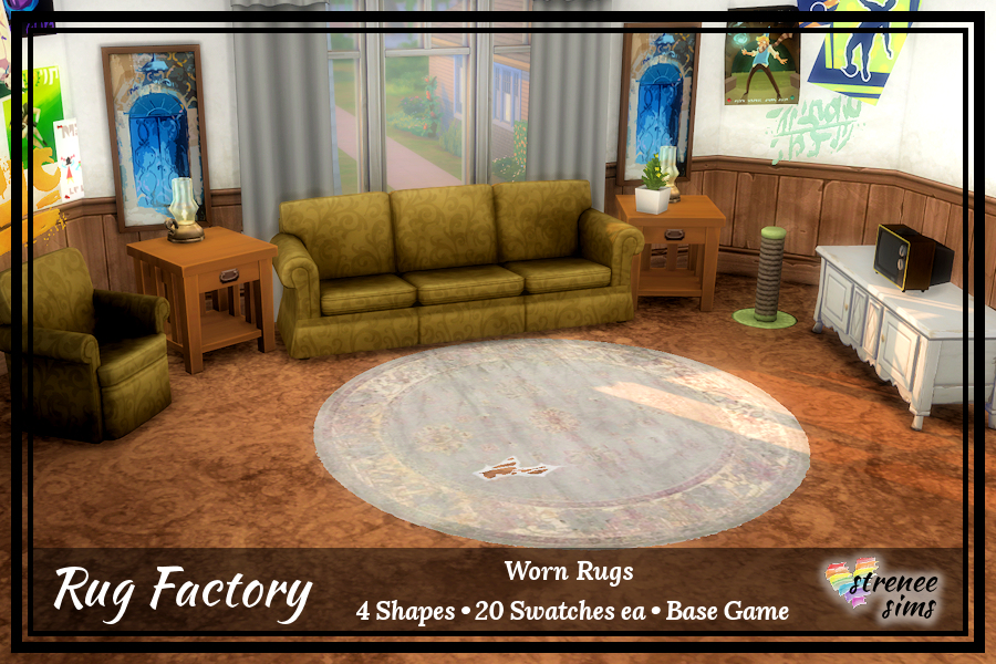 The Rug Factory: Worn Rugs Set 1 | Worn and frayed rugs for your poorer Sims #ts4 #sims4 | streneesims.com