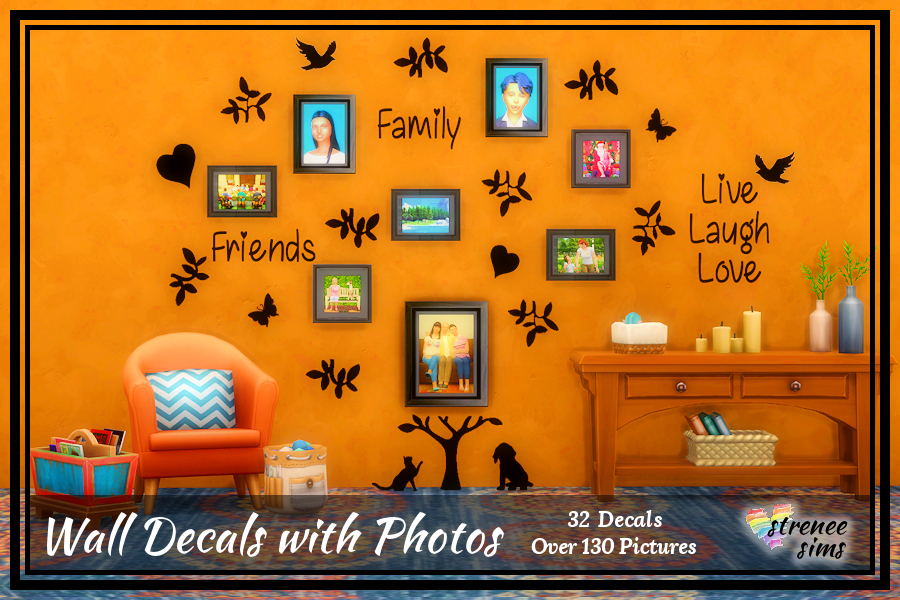 Tree Decal with Photos | Over 130 photos and 32 walls decals to decorate with. #ts4 #sims4 | www.streneesims.com