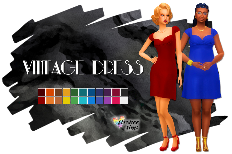 Sims 4 Vintage Dress | Flowy, free, & fashionable, this cocktail dress will wow them! #ts4 #sims4 #sims4cc | www.streneesims.com