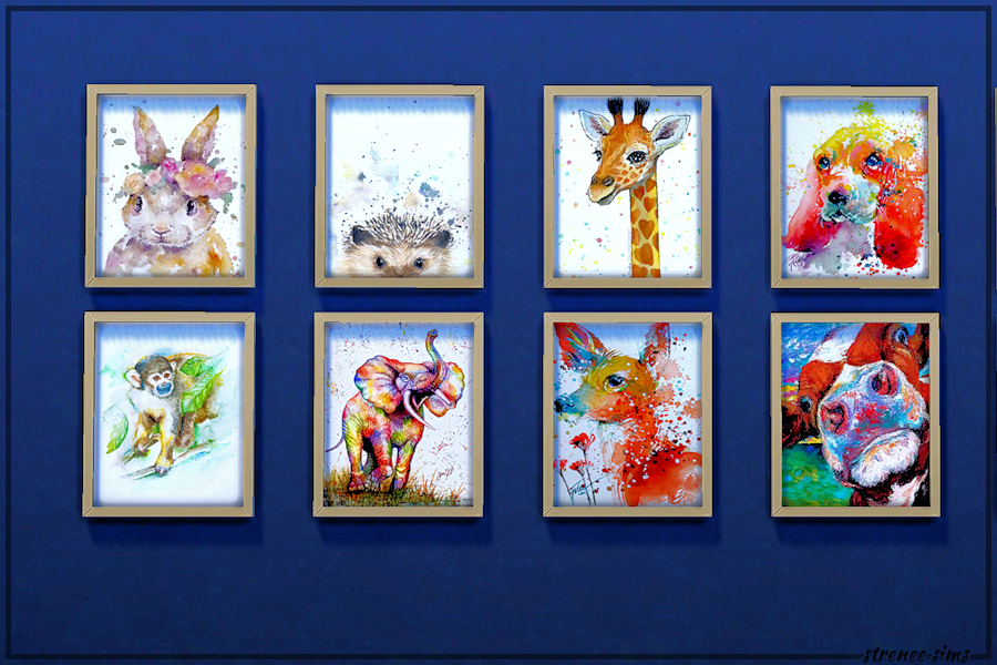 Watercolor Animal Prints Collection | 30 beautiful watercolor animal prints to decorate with. #ts4 #sims4 #sims4cc | www.streneesims.com